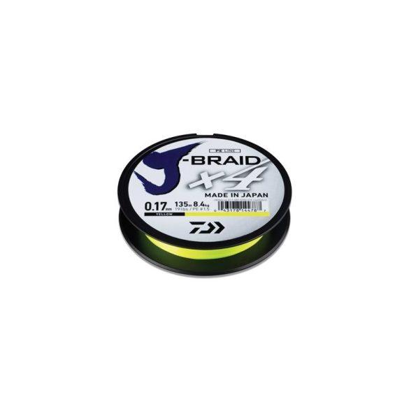 Daiwa J-Braid X4 Yellow fonott zsinór 135m 0.21mm