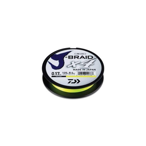 Daiwa J-Braid X4 Yellow fonott zsinór 135m 0.33mm