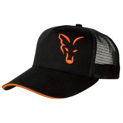 FOX Black/Orange Trucker Sapka